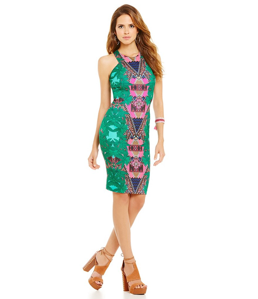 Gianni Bini Nora Cabana Print Sleeveless Sheath Dress