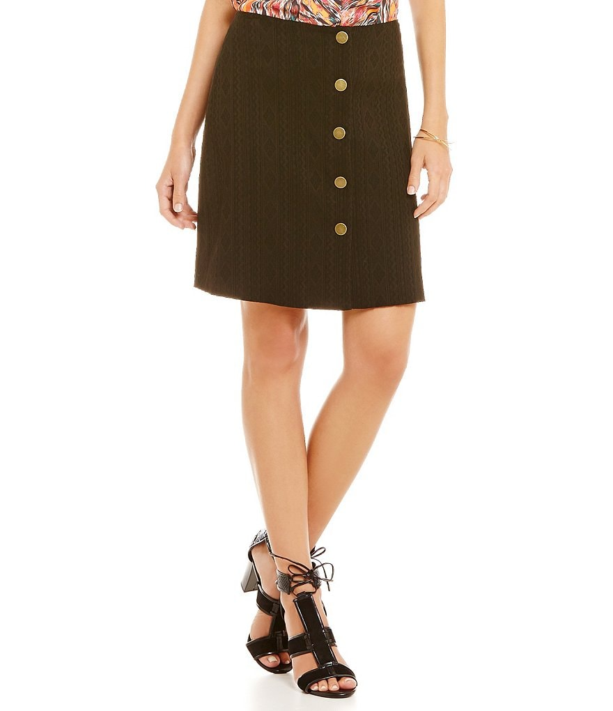 Gianni Bini Dorothy A-Line Button Front Skirt