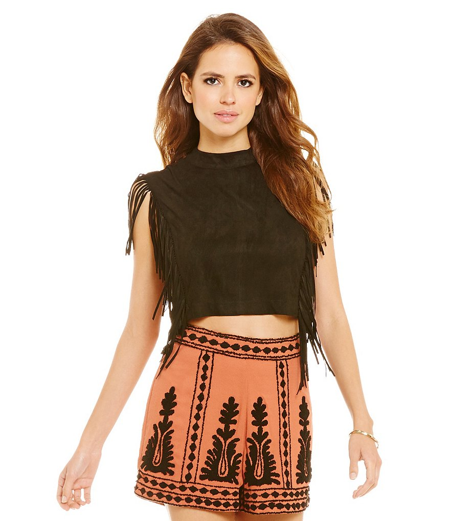 Gianni Bini Simon Fringe Sleeveless Crop Top