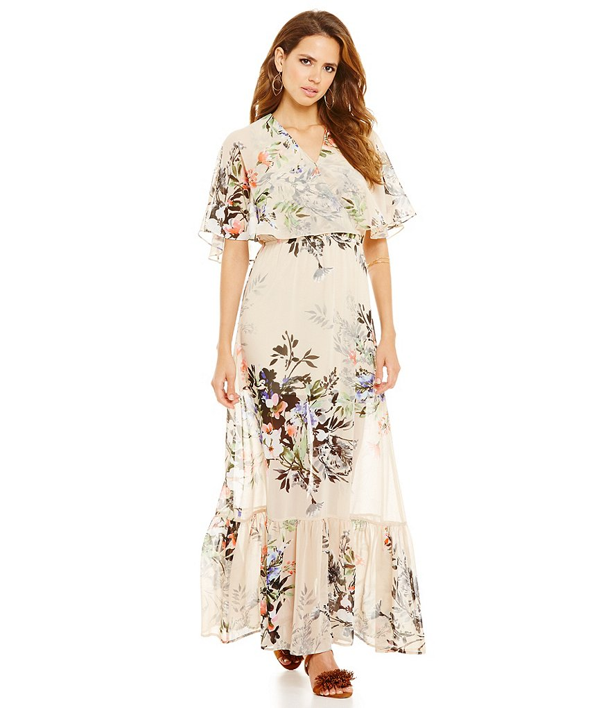 Gianni Bini Gigi Floral Print Flutter Sleeve Sheer Maxi Dress