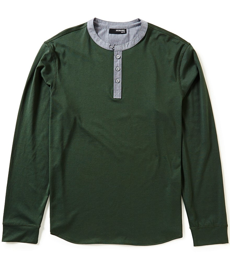 Murano Slim-Fit Long-Sleeve Solid Contrast Henley