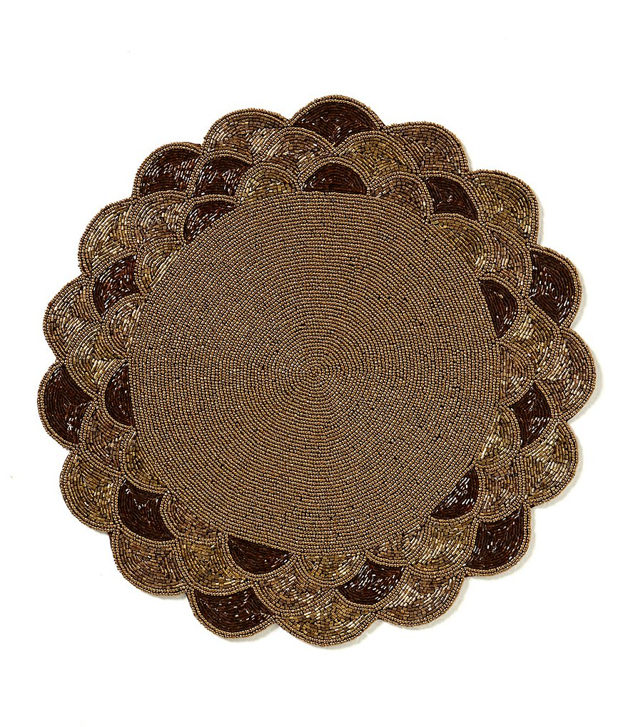 Aman Imports Scalloped Beaded Placemat/Charger