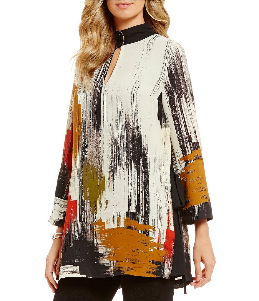 IC Collection Tie Side Keyhole Printed Blouse