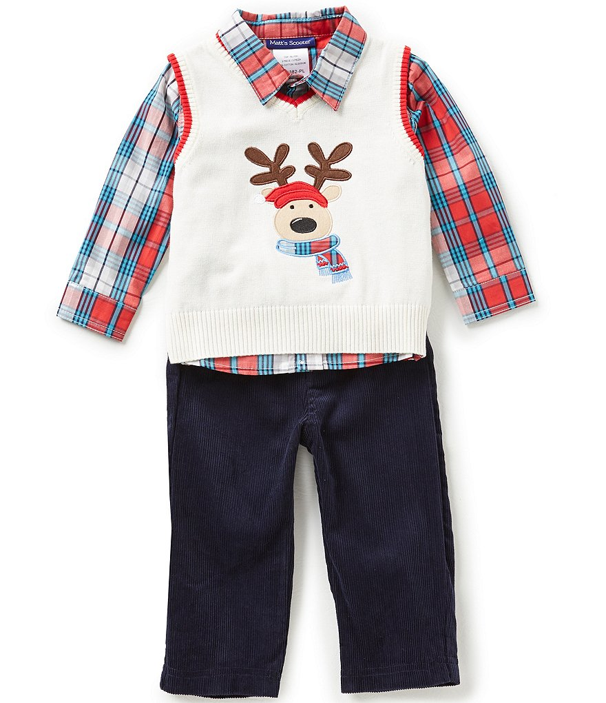 Matt's Scooter Baby Boys 12-24 Months Christmas Reindeer Sweater Vest, Plaid Woven Shirt & Corduroy Pants Set