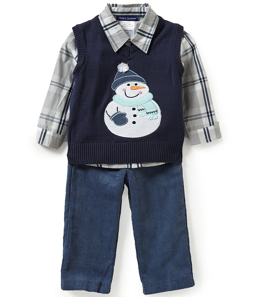 Matt´s Scooter Baby Boys 12-24 Months Christmas Snowman Sweater Vest, Plaid Woven Shirt, and Corduroy Pants Set
