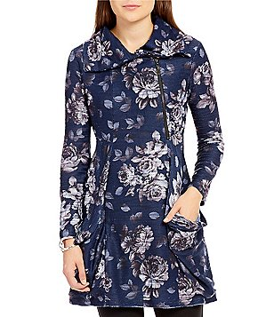Paris Hues 3/4 Sleeve Floral Zip Jacket Dress