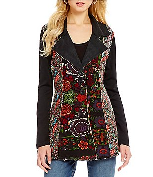 Paris Hues Patchwork Notch Collar Button Front Jacket