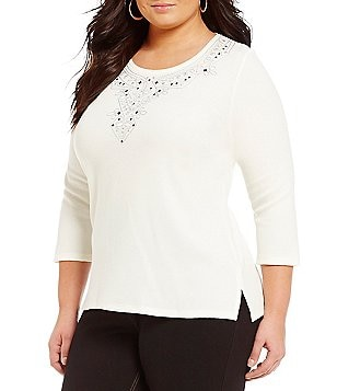 Allison Daley Plus Crew Neck Embroidered Top