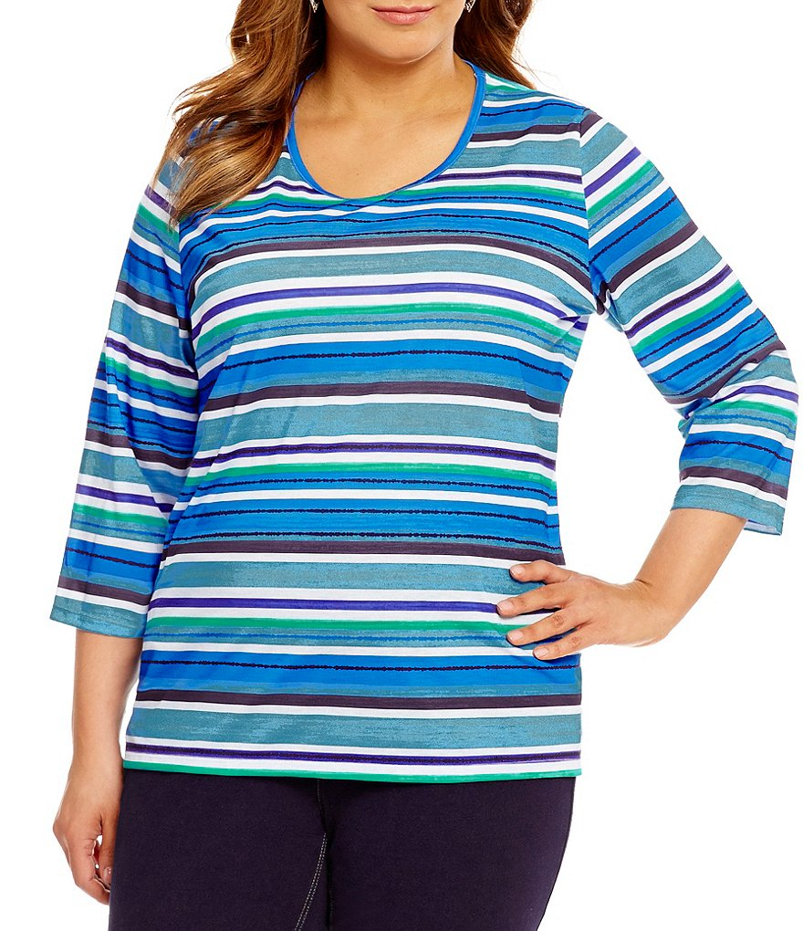 Allison Daley Plus Crew Neck 3/4 Sleeve Striped Knit Tee