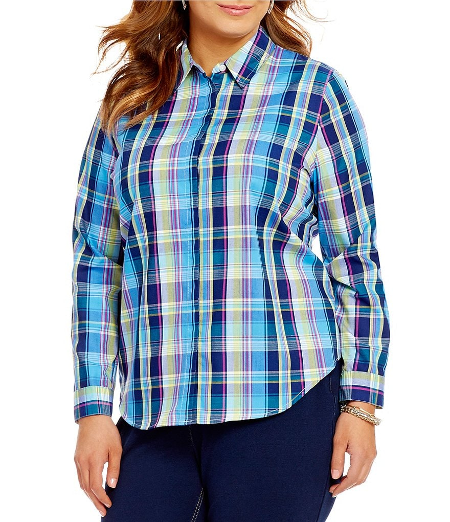 Allison Daley Plus Roll-Tab Sleeve Button-Front Plaid Shirt