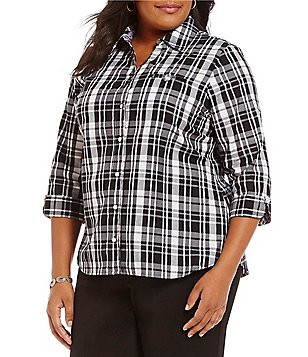Allison Daley Plus Y-Neck 3/4 Sleeve Plaid Button-Front Shirt