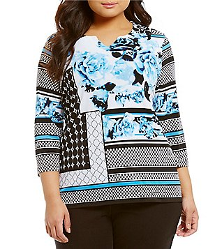 Allison Daley Plus Notch V-Neck Printed 3/4 Sleeve Tunic