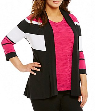 Allison Daley Plus Open Front 3/4 Sleeve Cardigan