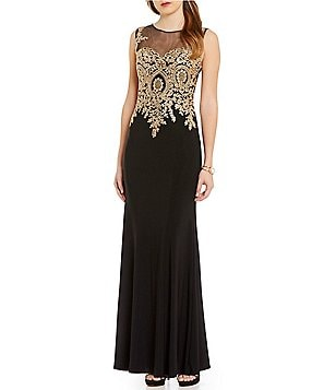 Cachet Illusion Neck Embroidered Gown