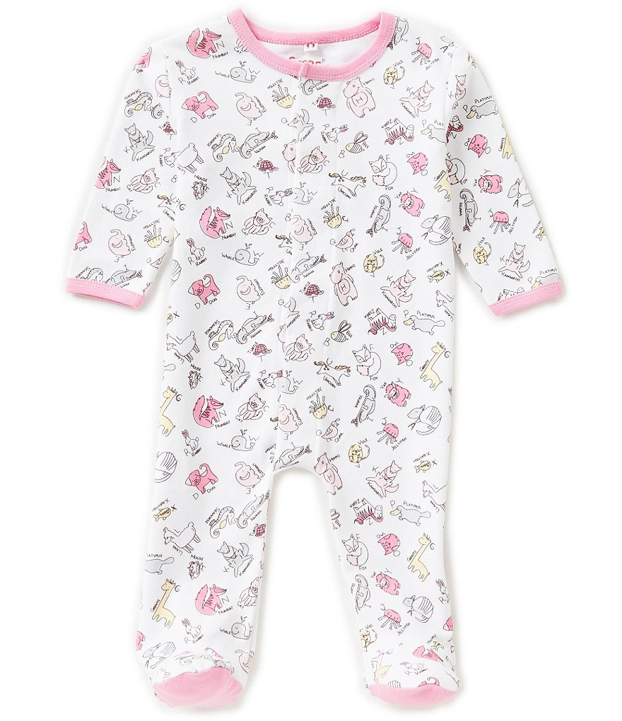 E=MC2 Baby Girls Newborn-9 Months Animal Alphabet Printed Magnetic-Closure Footed Coverall