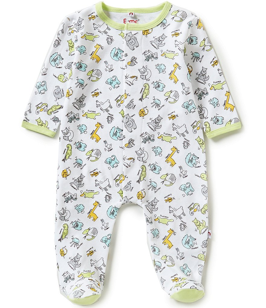 E=MC2 Baby Boys Newborn-9 Months Animal Alphabet Printed Magnetic-Closure Footed Coverall
