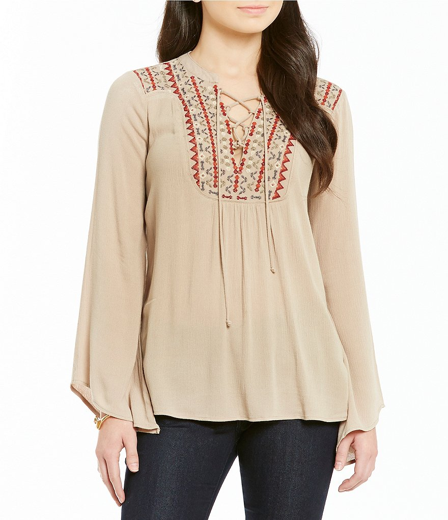Democracy Solid Woven Tie-Up Neck Embroidered Yoke Top