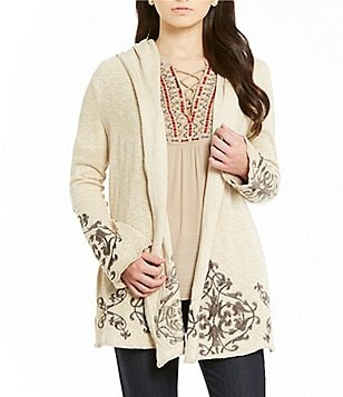 Democracy Slub Hoodie Embroidered Cardigan