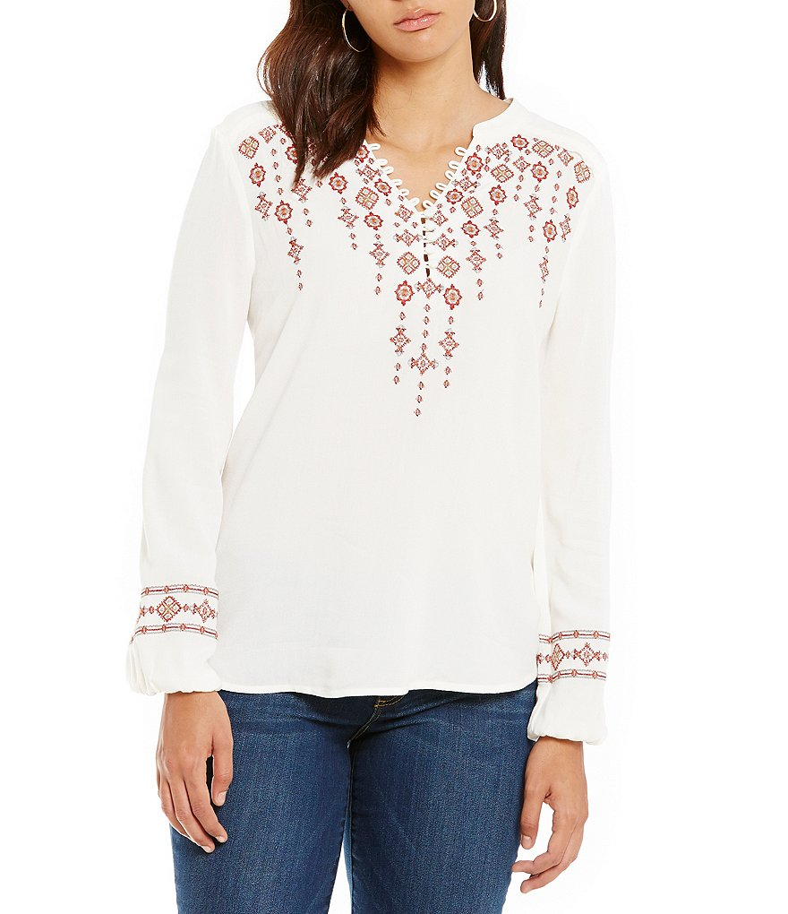 Democracy Long Sleeve Embroidered Peasant Top