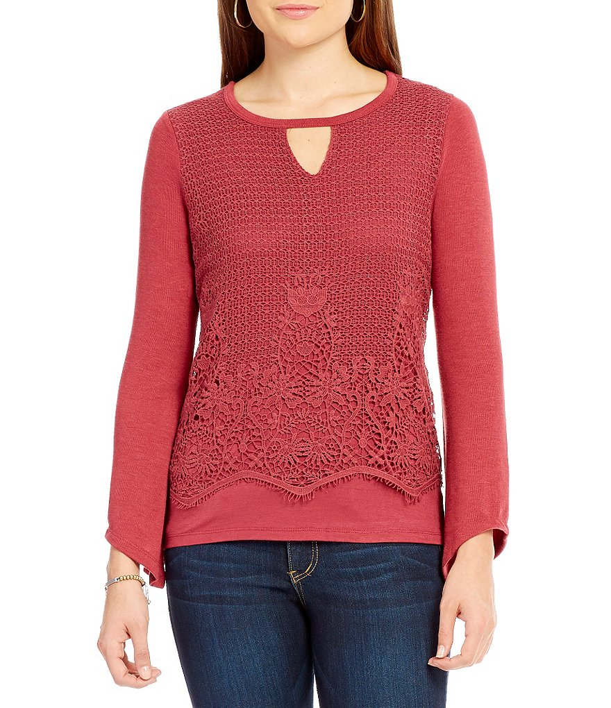Democracy Long Sleeve Keyhole Crochet Overlay Top