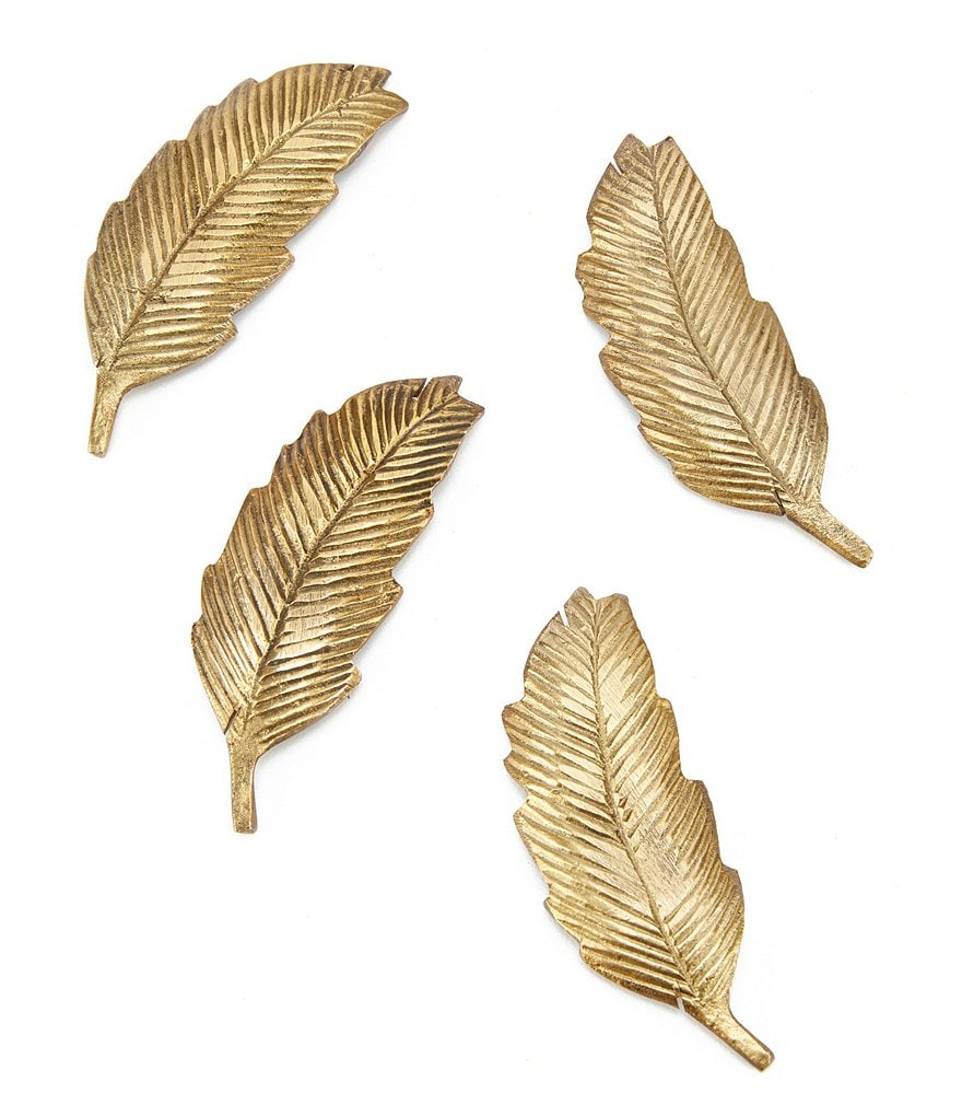 Southern Living Brass Leaf Card Holder, Set of 4