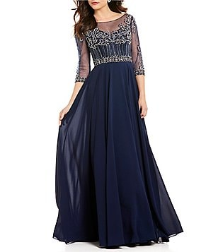 Terani Couture Sweetheart Neck 3/4 Sleeve Beaded Bodice Chiffon Gown