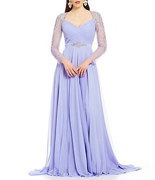Terani Couture Sweatheart Neck Long Beaded Sleeve Chiffon Gown
