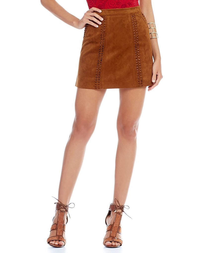 Gianni Bini Samson Faux-Suede Stitch Skirt
