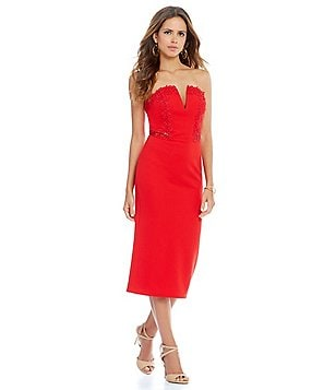 Gianni Bini Sandra Strapless Applique Dress