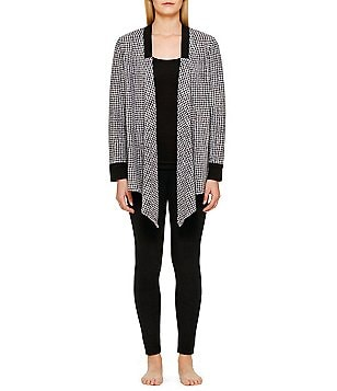 DKNY Fleece Weave-Print Cardigan & Leggings Lounge Set