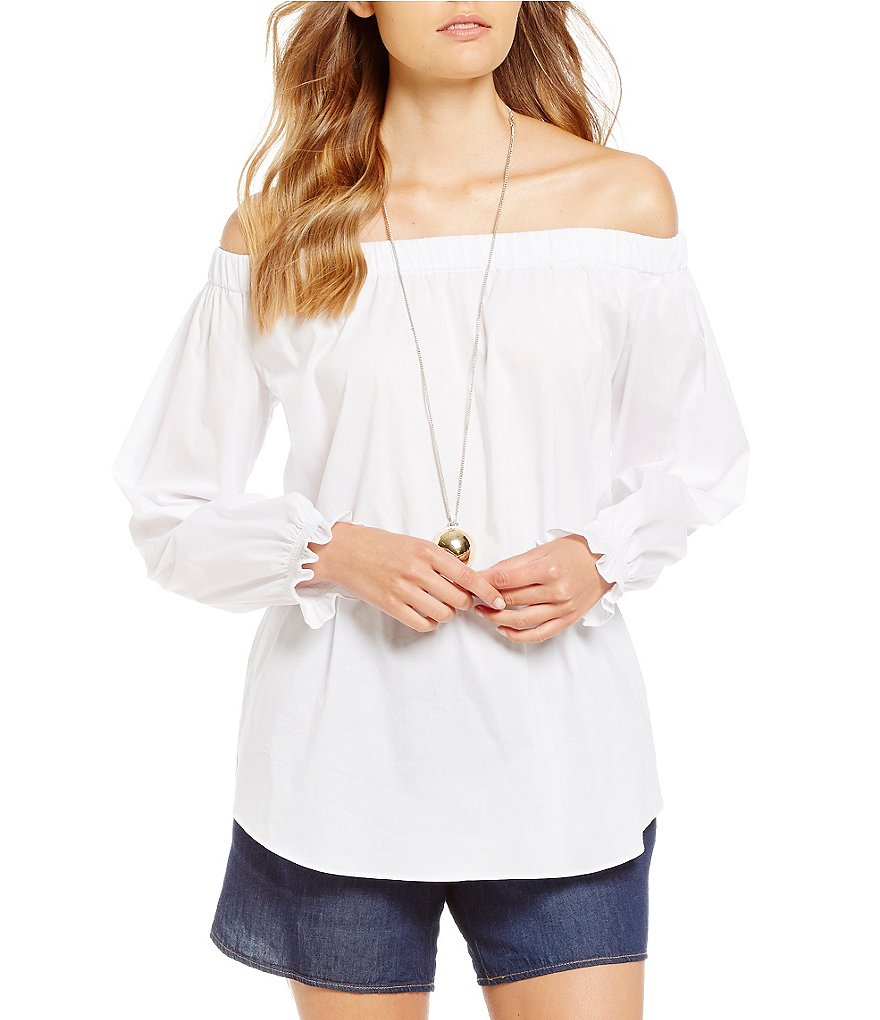 Gibson & Latimer Off -the-Shoulder Poplin Blouse