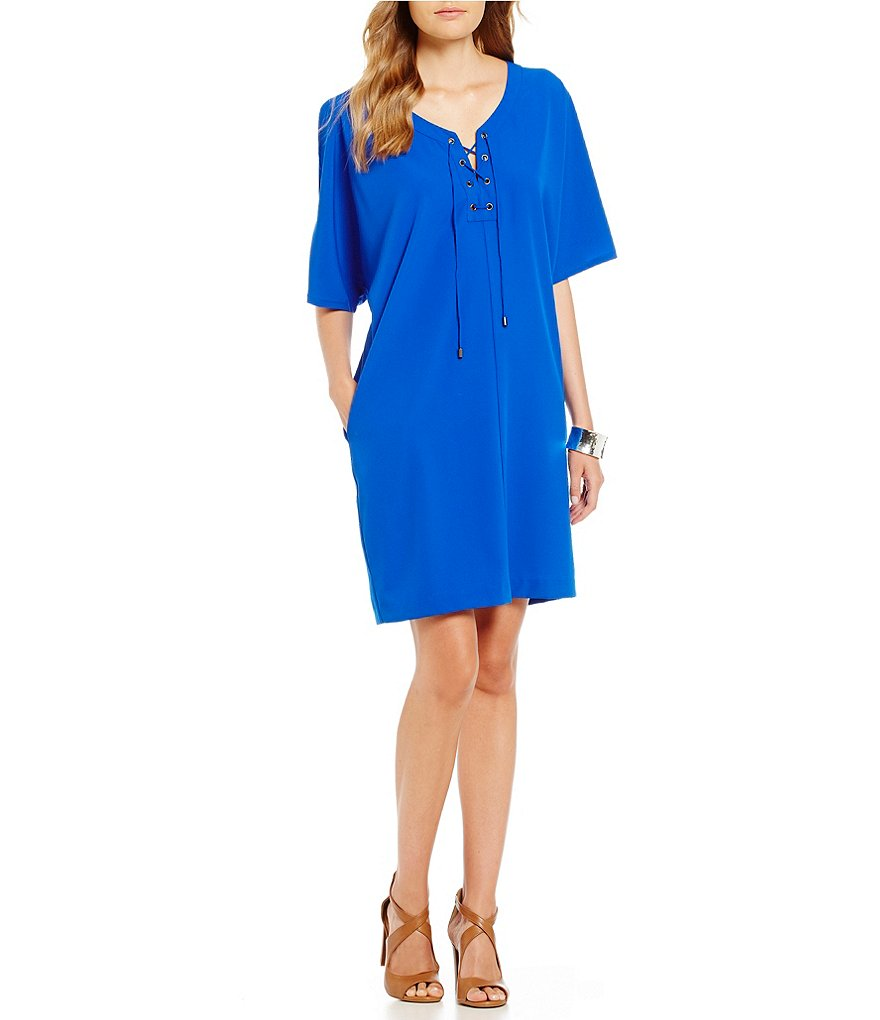 Gibson & Latimer Lace-Up Neckline Dress