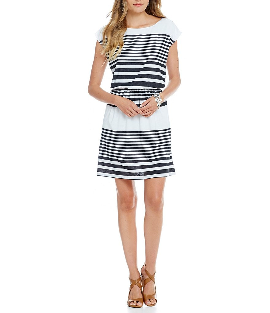 Gibson & Latimer Boat Neck Cap Sleeve Striped Dress