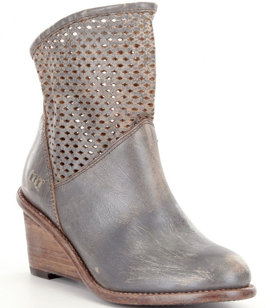 Bed Stu Dutchess Perforated Wedge Booties