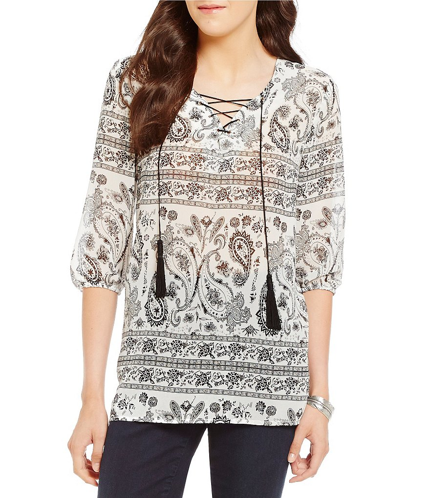 Gibson & Latimer Paisley Print Lace Up Blouse