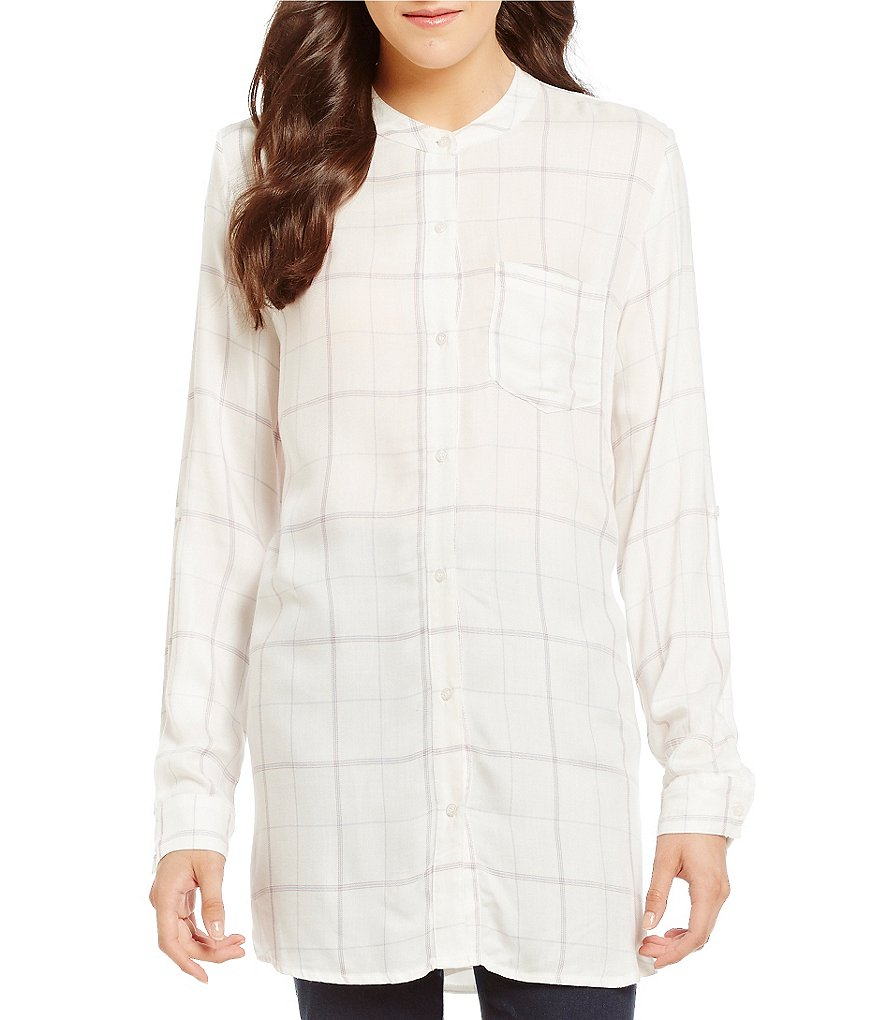 Gibson & Latimer Plaid Button-Up Tunic Blouse