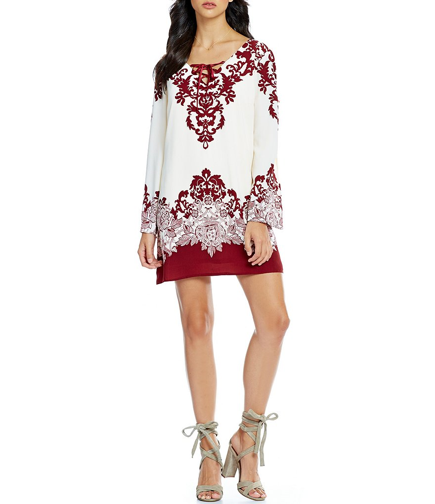 Teeze Me Border Print Long Sleeve Lace-Up Shift Dress