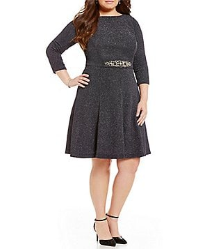 Eliza J Plus 3/4 Sleeve Glitter Beaded Detail Dress