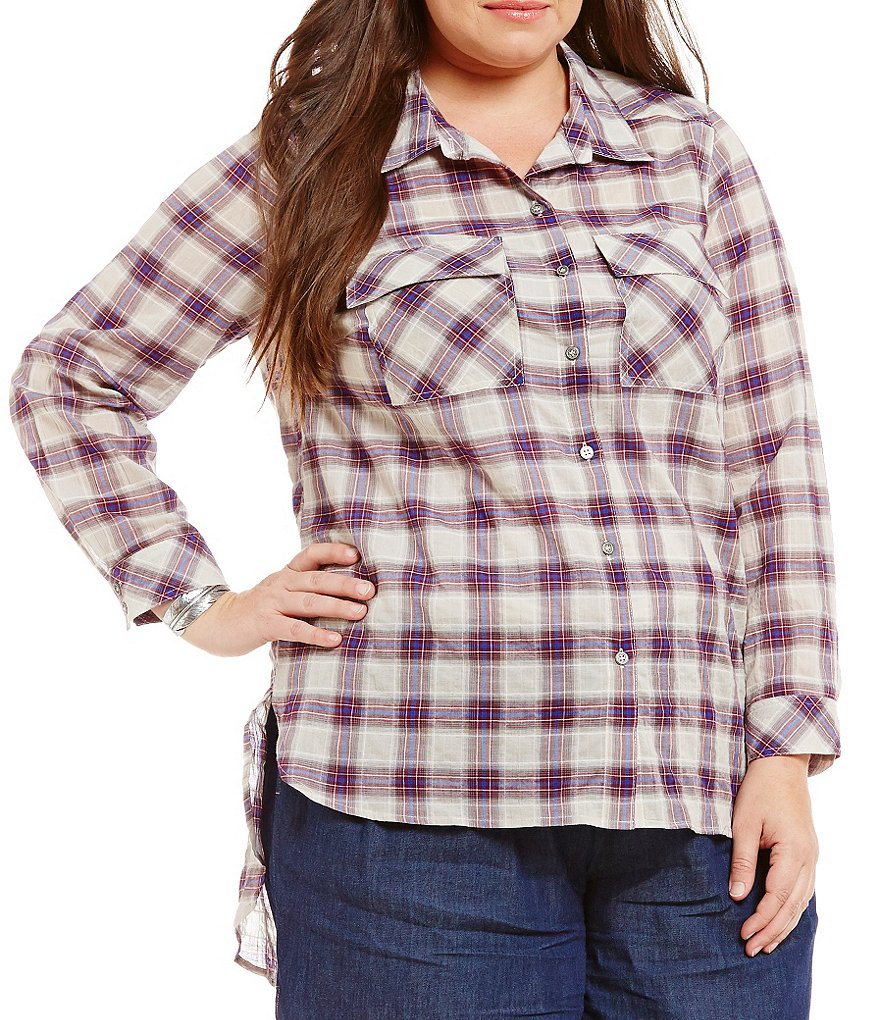 Gibson & Latimer Plus Plaid Button Down Top