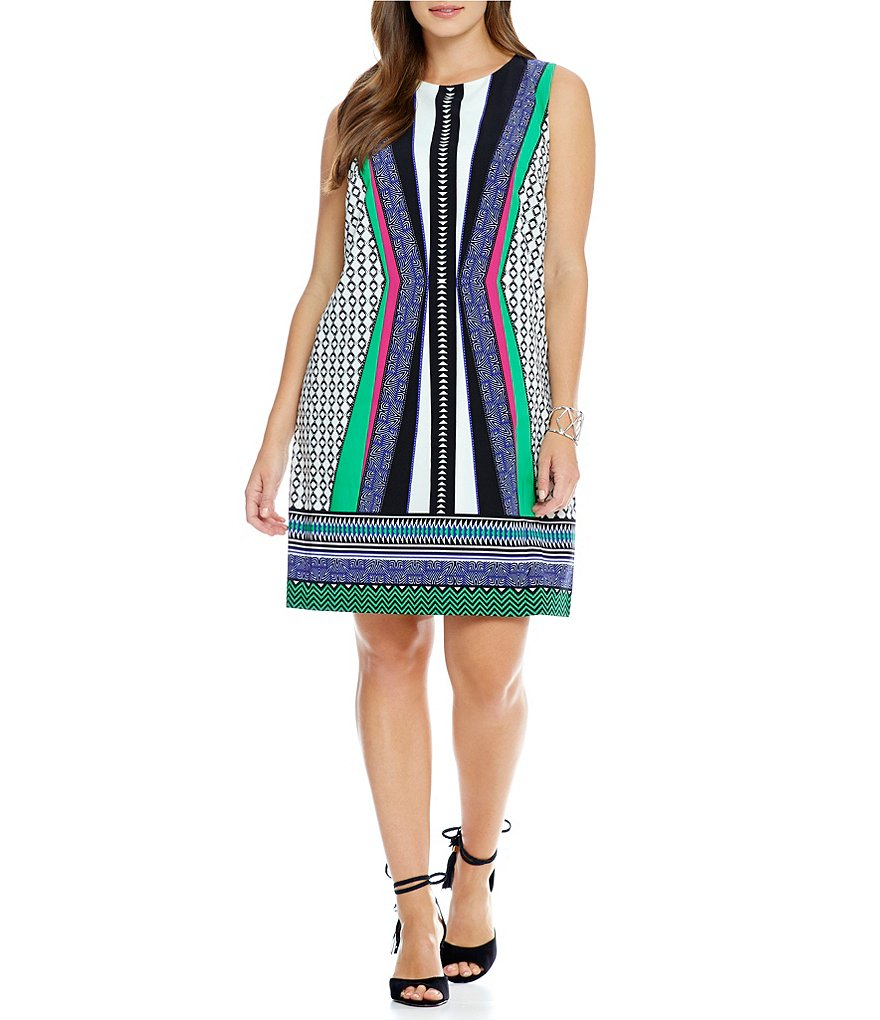 Gibson & Latimer Plus Geometric Shift Dress