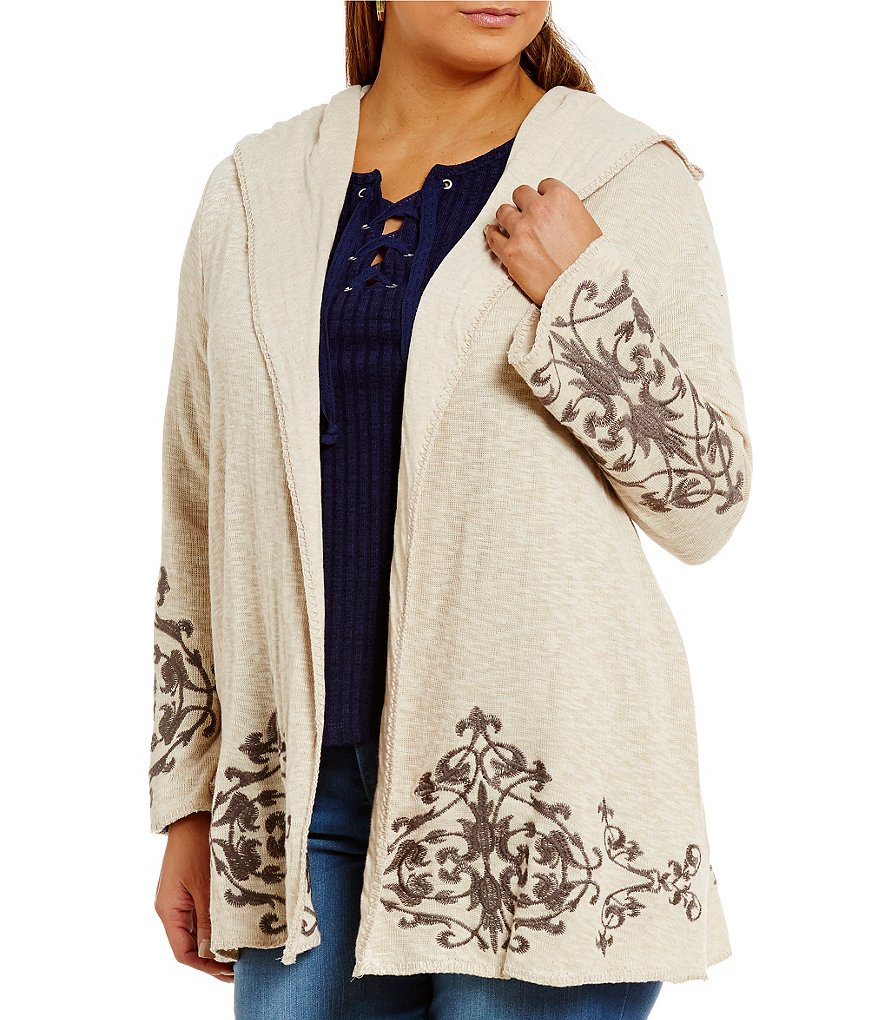 Democracy Plus Open Front Slub Hoodie Embroidered Cardigan
