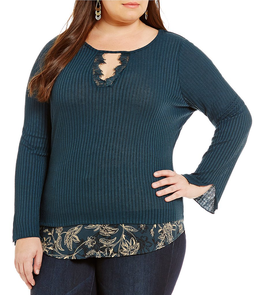 Democracy Plus With Shirttail Hem Keyhole Ribbed Lace Long Sleeve Top