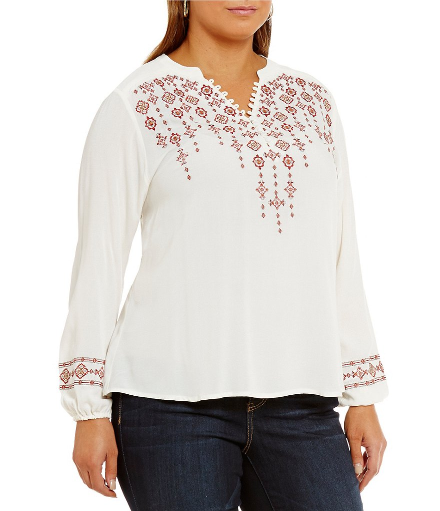 Democracy Plus Long Sleeve Split V-Neck Embroidered Peasant Top