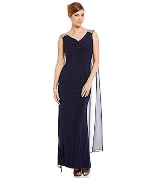Jessica Howard Beaded Shoulder Drape Neck Sheath Dress