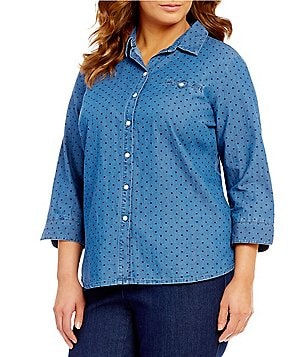 Allison Daley Plus Y-Neck Dot Print Button Front Denim Shirt