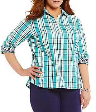 Allison Daley Plus Y-Neck 3/4 Sleeve Plaid Print Button Front Woven Shirt