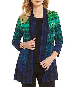 Allison Daley Horizontal Stripe Print 3/4 Sleeve Open Front Cardigan
