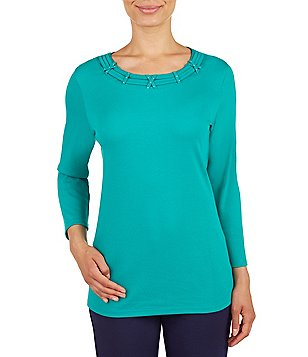Allison Daley Petite Banded Crew Neck 3/4 Sleeve Solid Knit Top