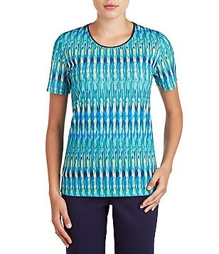Allison Daley Petite Round Neck Short Sleeve Biadere Print Knit Top