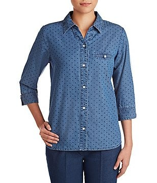 Allison Daley Petite Y-Neck Dot Print Button Front Denim Shirt